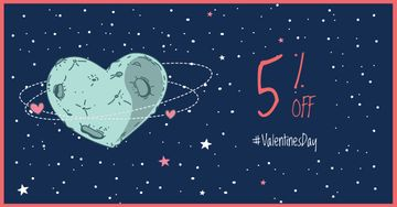 Valentine's Day Discount with Heart-Shaped Moon