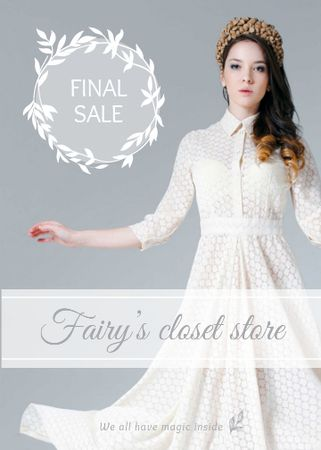 Designvorlage Clothes Sale Woman in White Dress für Flayer