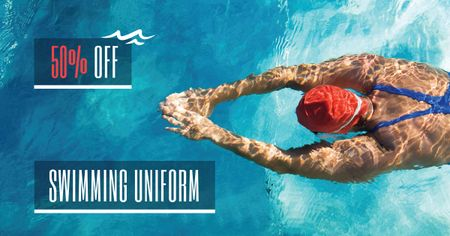 Designvorlage Swimming Competition Announcement with Swimmer in Pool für Facebook AD