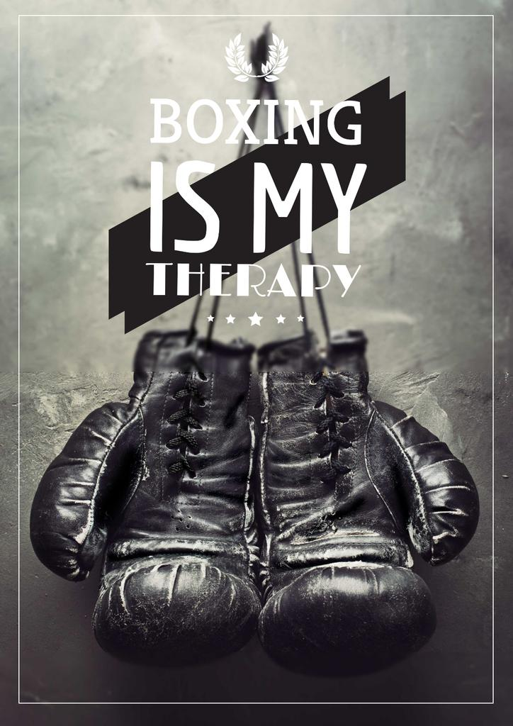 Sport Quote with Boxing Gloves on Wall — Maak een ontwerp