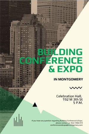 Ontwerpsjabloon van Tumblr van Building conference invitation on Skyscrapers in city