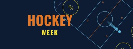 Hockey Week Announcement with Sports Field Facebook coverデザインテンプレート
