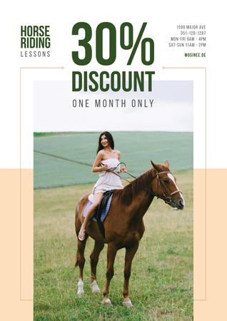 Riding School Promotion with Woman Riding Horse Posterデザインテンプレート