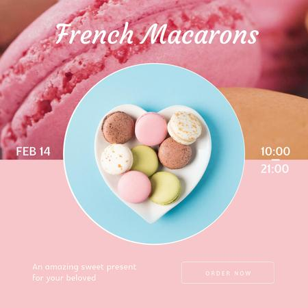 Valentine's Day Macarons on heart-shaped plate Animated Post Modelo de Design