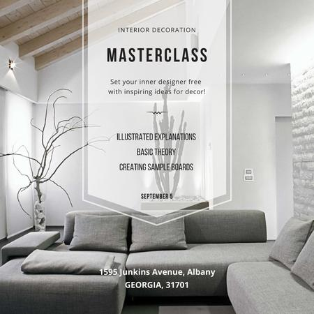 Interior decoration Masterclass with Stylish Room Instagram Design Template