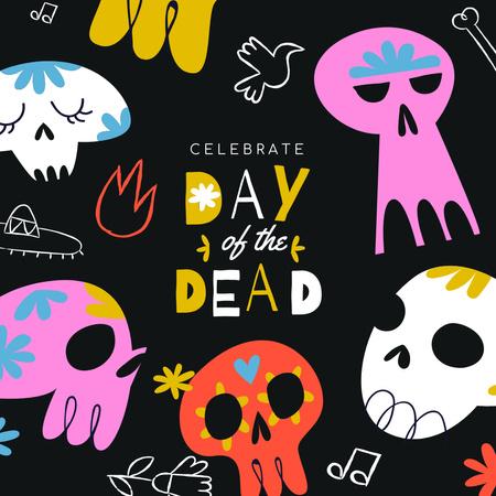 Day of Dead Celebration with Colorful Skulls Instagram – шаблон для дизайну