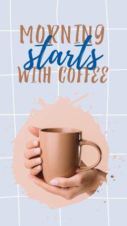 Ontwerpsjabloon van Instagram Story van Phrase about Coffee with Cup in Hands