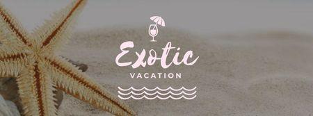 Plantilla de diseño de Starfish in Sand by the Sea Facebook cover