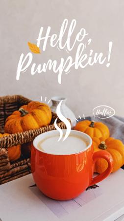 Platilla de diseño Autumn Inspiration with Warm Cup and Pumpkins Instagram Story