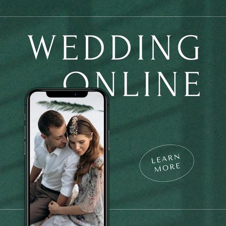 Online Wedding Announcement with Couple on Phone Screen Instagram – шаблон для дизайну