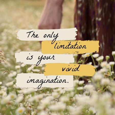 Designvorlage Inspirational Quote with Girl in Flower Field für Animated Post