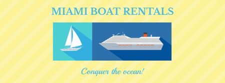 Boat rentals Offer on Yellow Facebook coverデザインテンプレート