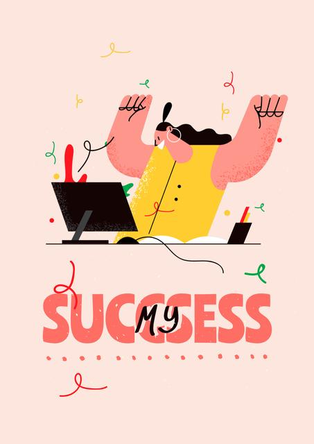 Girl Power Inspiration with Happy Woman on Workplace Poster Tasarım Şablonu