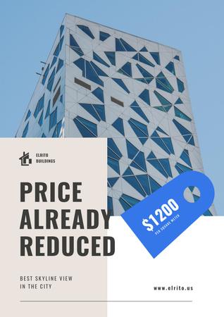 Real Estate Offer with Modern Glass Building Poster Tasarım Şablonu