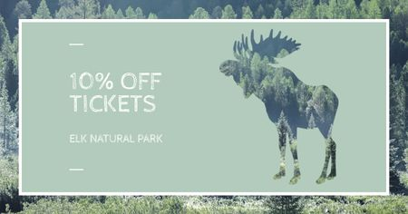 Ontwerpsjabloon van Facebook AD van Natural Park Tickets Offer with Moose
