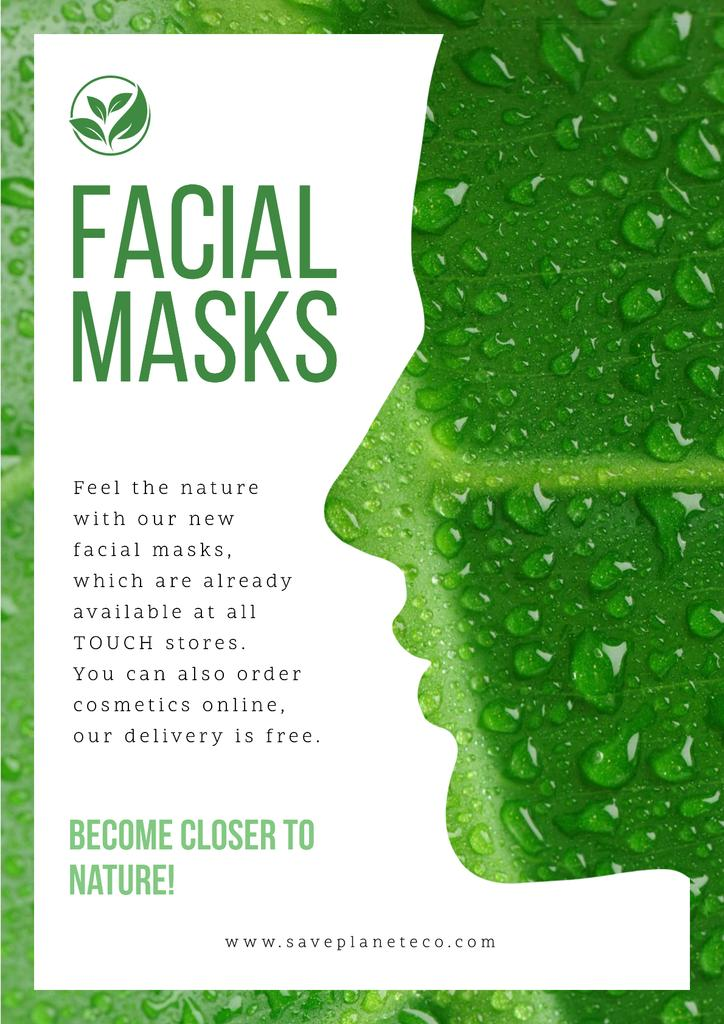 Facial masks with Woman's green silhouette —デザインを作成する