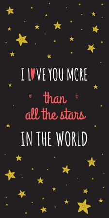 Plantilla de diseño de Valentines Love Quote with stars Graphic