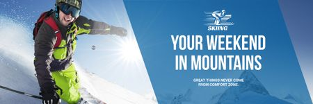 Winter Tour Offer Man Skiing in Mountains Twitter Modelo de Design