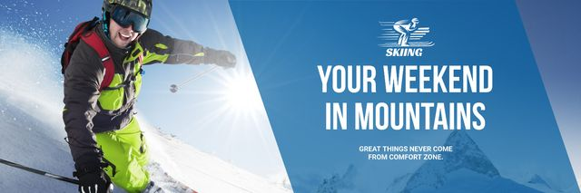 Plantilla de diseño de Winter Tour Offer Man Skiing in Mountains Twitter
