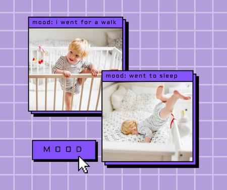 Plantilla de diseño de Cute Little Child in Cot Facebook