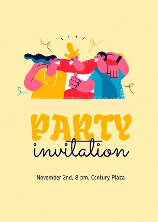 Party Announcement with Best Friends hugging Invitation – шаблон для дизайну