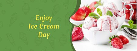 Ice Cream Day with Sweet Dessert and Strawberries Facebook coverデザインテンプレート