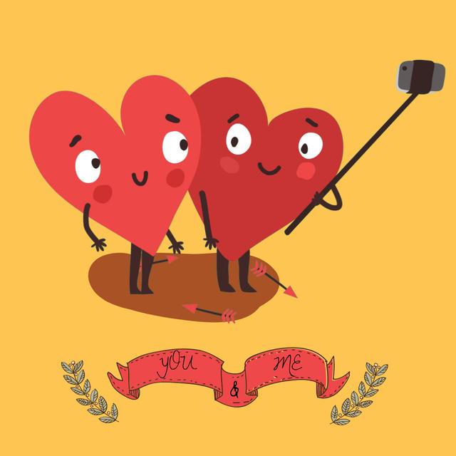 Designvorlage Cute Hearts making Selfie on Valentine's Day für Animated Post