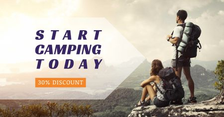 Hiking Tour Sale Backpackers in Mountains Facebook AD – шаблон для дизайну