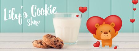 Valentine's Cookies with Cute Teddy Bear Facebook Video cover Modelo de Design