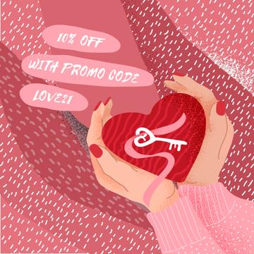 Discount offer with Hands holding Heart
