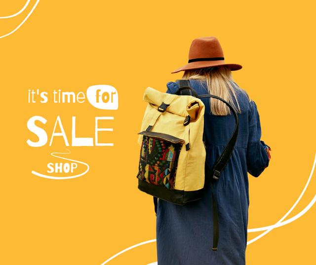Szablon projektu Autumn Sale Announcement with Girl in Stylish Outfit Facebook