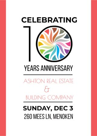Celebrating company 10 years Anniversary Invitation Design Template