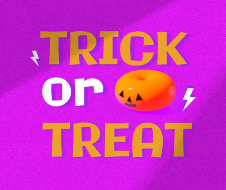 Halloween Traditional Phrase with Pumpkin Candy Facebook Modelo de Design