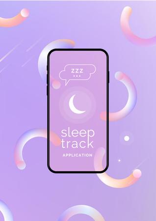 Sleep Tracker App on Phone Screen Poster Modelo de Design