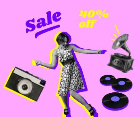 Funny Illustration of Dancing Girl and Gramophone Large Rectangle – шаблон для дизайну