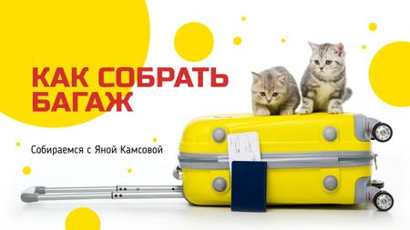 Luggage Ad Kittens on Suitcase in Yellow Youtube Thumbnail – шаблон для дизайна