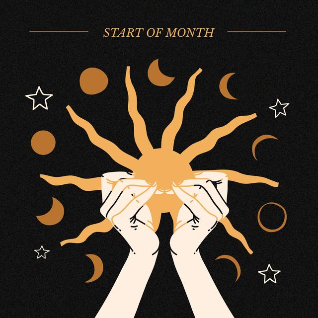 Modèle de visuel Astrological Inspiration with Hands holding Sun - Instagram