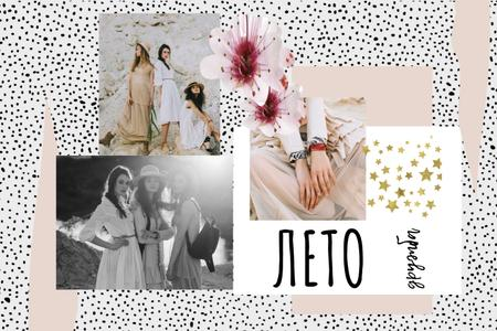 Fashion Offer with Tender Young Women Mood Board – шаблон для дизайна