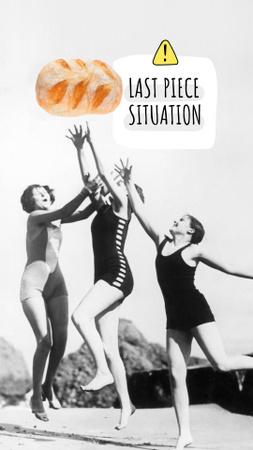 Designvorlage Funny Illustration of Women Catching Bun für Instagram Story