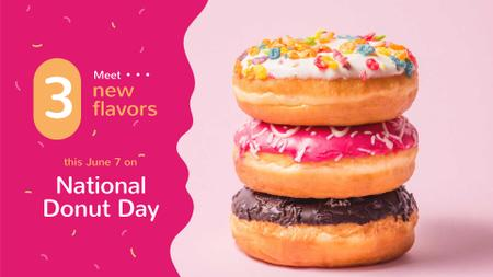 Delicious glazed Donut's day sale FB event cover Design Template