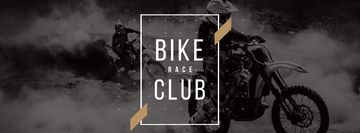 Bike Club Ad with Bikers Riding Motorcycle race