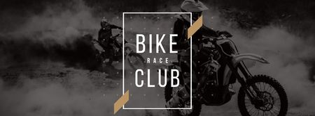 Bike Club Ad with Bikers Riding Motorcycle race Facebook cover – шаблон для дизайну