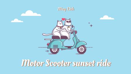 Modèle de visuel Cats riding on Scooter - FB event cover