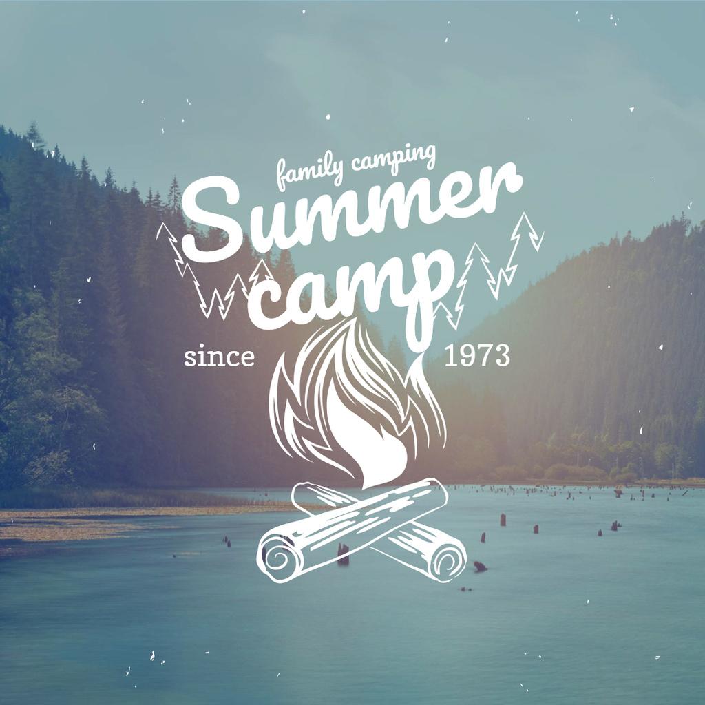 Summer camp with Lake Landscape Instagram – шаблон для дизайна