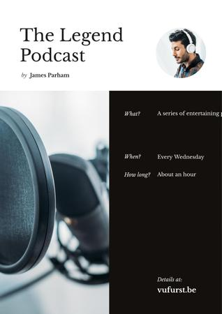 Podcast Annoucement with Man in headphones Poster Design Template