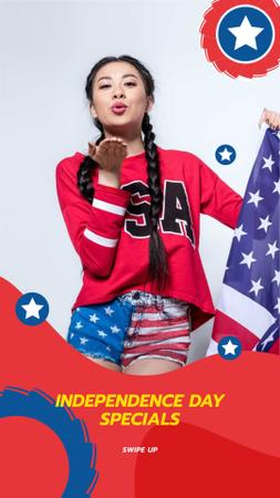 Modèle de visuel USA Independence Day Special Offer with Girl sending Kiss - Instagram Story