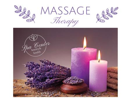 Massage therapy ad with lavender and candles Facebook Modelo de Design