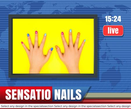 Funny Offer of Manicure Services Facebook Design Template