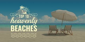 heavenly beaches poster with chaise lounges