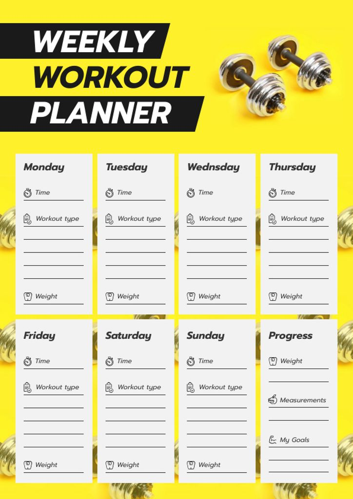 Workout Plan for Week with dumbbells — Crear un diseño